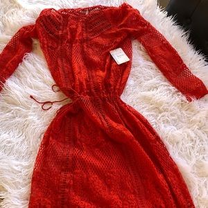Red lace dress from Free the People